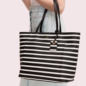 Kate spade hyde lane stripe riley black white tote